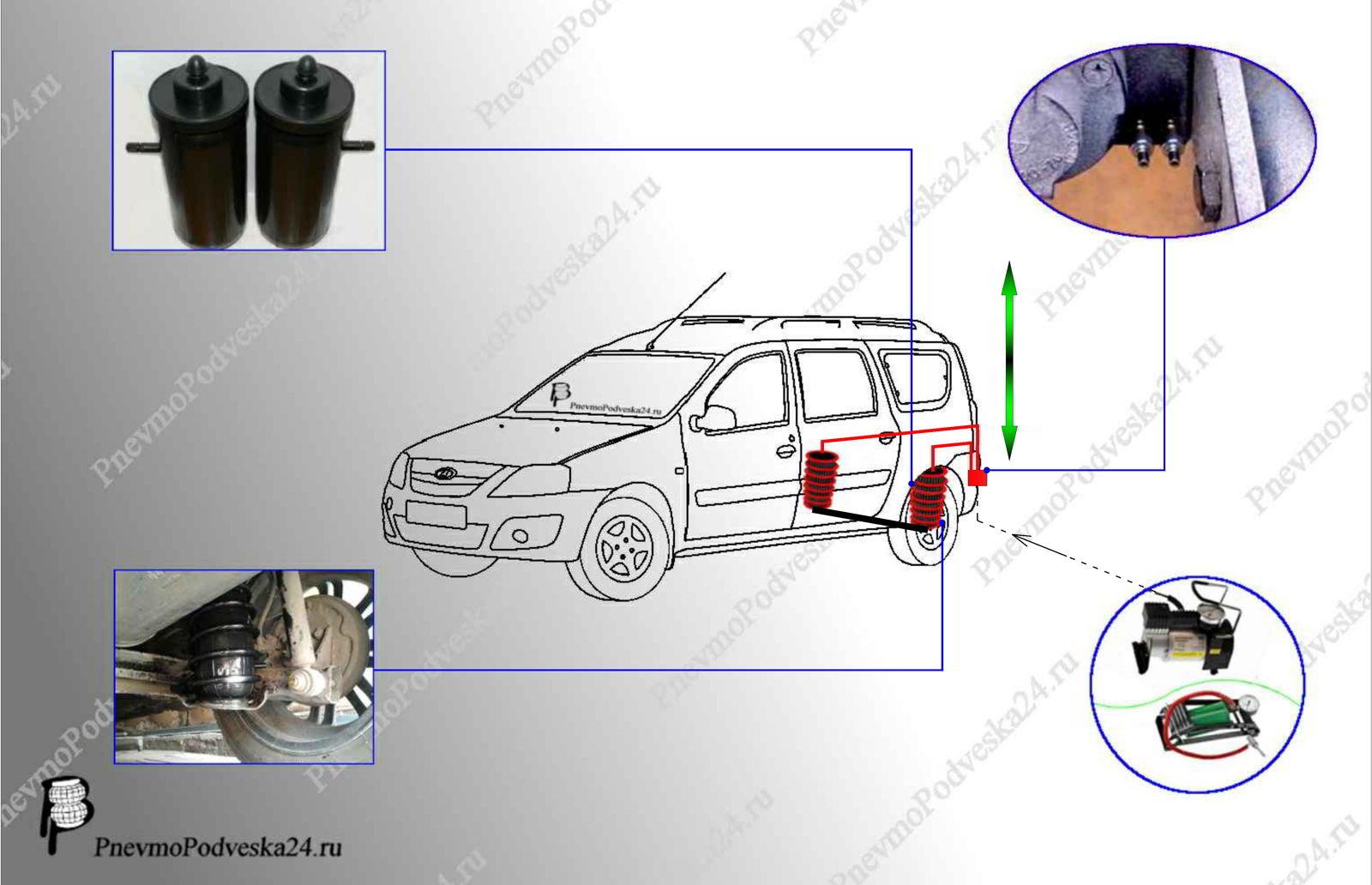 Схема пневма усиления задних пружин Ларгус