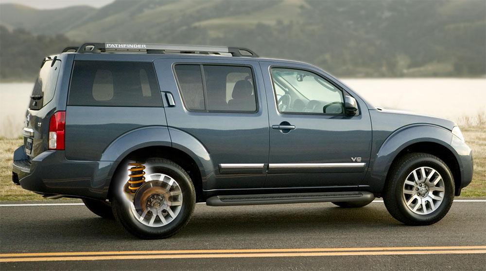 Пневмобаллоны в пружины  Ниссан Патфаиндер  (Nissan Patfinder ) задняя ось.